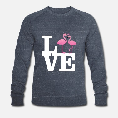 Love With Heart Love Flamingo Couple with heart - Miesten luomu pusero