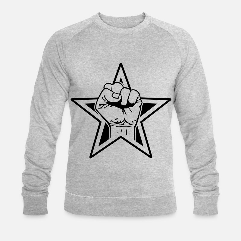 Riot Hoodies & Sweatshirts - Star fist - fist freedom fighting freedom stars - Men's Organic Sweatshirt heather grey