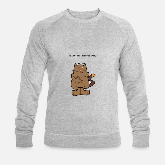 Animal Hoodies & Sweatshirts - Cat loo - Men's Organic Sweatshirt heather grey