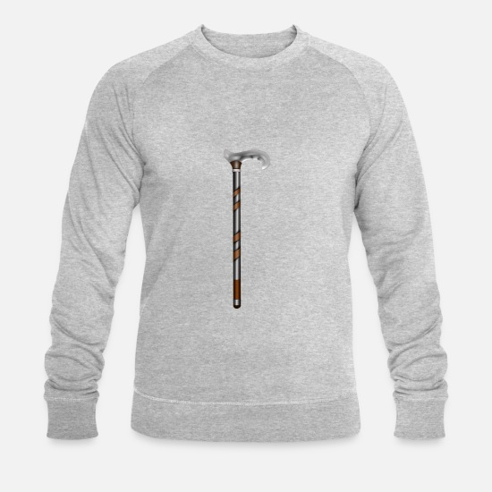 Senior Hoodies & Sweatshirts - walking stick - Men's Organic Sweatshirt heather grey
