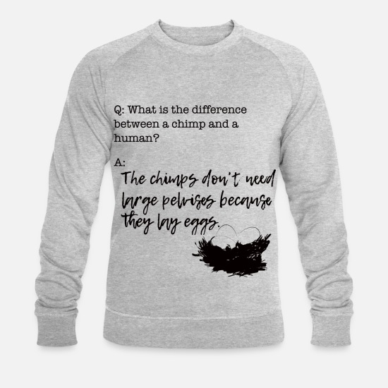 Biology Hoodies & Sweatshirts - Chimpanzee eggs pupil school - Men's Organic Sweatshirt heather grey