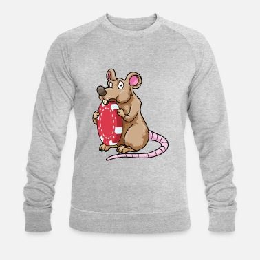 Guys Mouse playing poker with poker chips - Men's Organic Sweatshirt