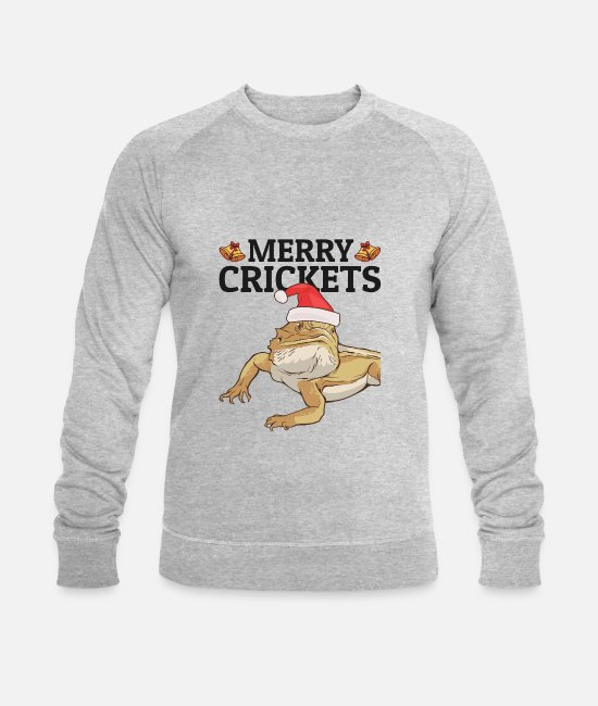 Reptiles Hoodies & Sweatshirts - Bearded dragon Merry Crickets Christmas Bearded Dragon - Men's Organic Sweatshirt heather grey