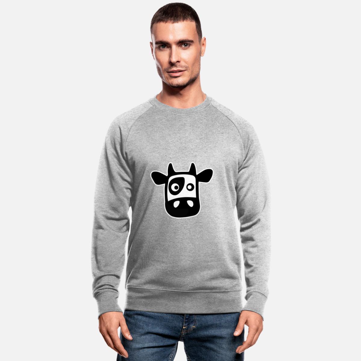 Tegneserieku med flekker Økologisk sweatshirt for menn fra Stanley & Stella gråmelert