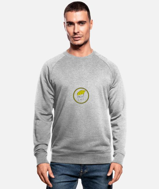 Party Hoodies & Sweatshirts - face - Men's Organic Sweatshirt heather grey
