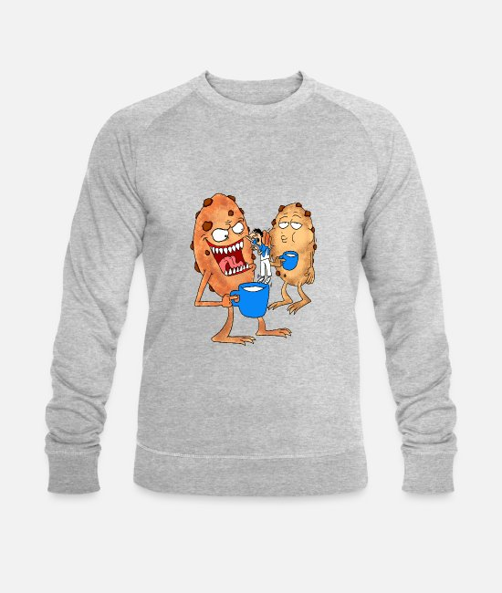 Rare Hoodies & Sweatshirts - Cookies eating children with milk - Men's Organic Sweatshirt heather grey