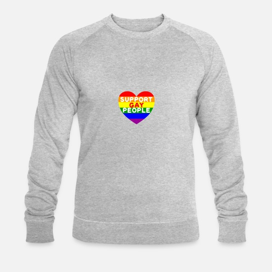 Gay Pride Hoodies & Sweatshirts - RAINBOW FAIR HEART SCHWUL HOMOEHE - Men's Organic Sweatshirt heather grey