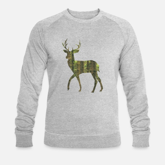 Antler Hoodies & Sweatshirts - Deer with antlers - Men's Organic Sweatshirt heather grey