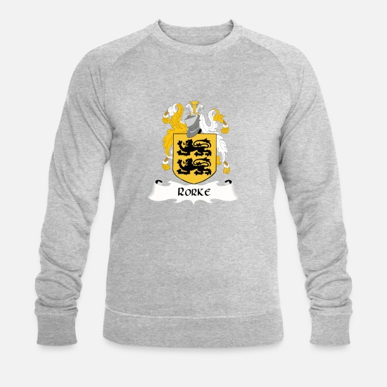 Family Hoodies & Sweatshirts - Rorke Family shield - Men's Organic Sweatshirt heather grey