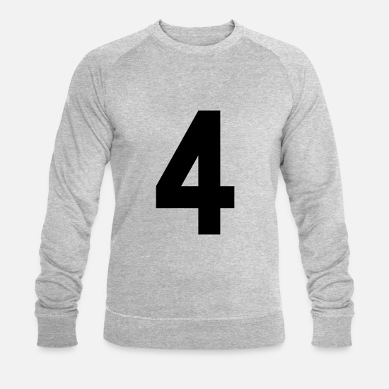 Rugby Sweat-shirts - 4, football, Basketball, sport, numéros, Nombres, - Sweat-shirt bio Homme gris chiné