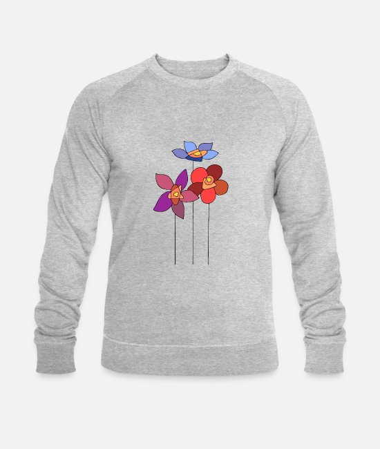Friends Hoodies & Sweatshirts - Colorful flowers - Men's Organic Sweatshirt heather grey