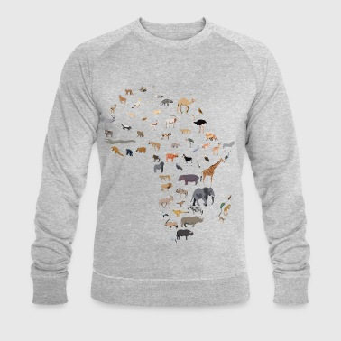 Map of African wildlife - Men's Organic Sweatshirt by Stanley & Stella