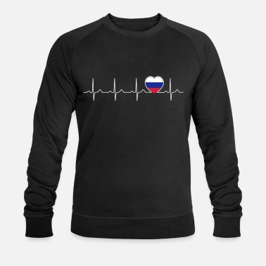 Russia flag heartbeat - nation - flag - heart - Men's Organic Sweatshirt