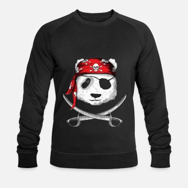 Pirate Panda pirate with pirate headscarf and saber - Men's Organic Sweatshirt by Stanley & Stella