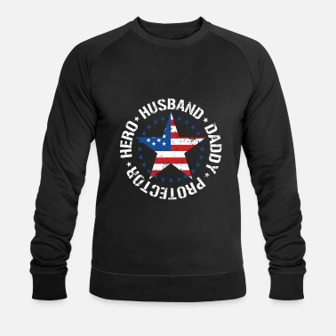 Hero Protector Hero Husband Daddy - usa flag - Men's Organic Sweatshirt by Stanley & Stella