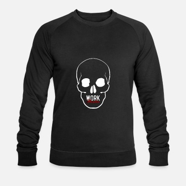 Werk Harder Scull 1 wit - Mannen bio sweater