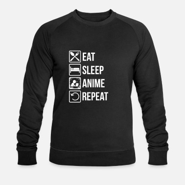 Geek Anime Food Sleep Repeat Geek Gift - Ekologisk sweatshirt herr från Stanley & Stella