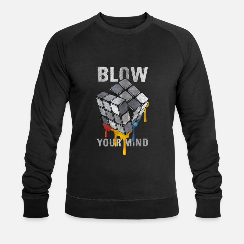Officialbrands Hoodies & Sweatshirts - Rubik's Cube Blow Your Mind - Men's Organic Sweatshirt black