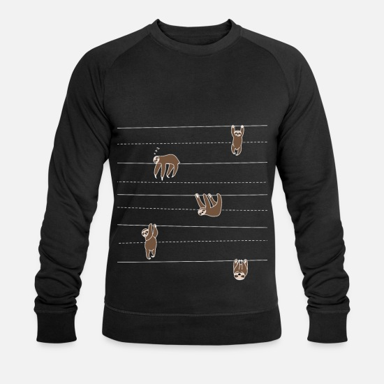 cool Hoodies & Sweatshirts - Sloth pattern gift idea for sloth fans - Men's Organic Sweatshirt black