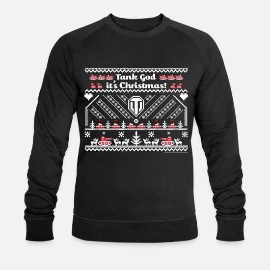 Christmas Hoodies & Sweatshirts - World Of Tanks Tank God It's Christmas - Men's Organic Sweatshirt black
