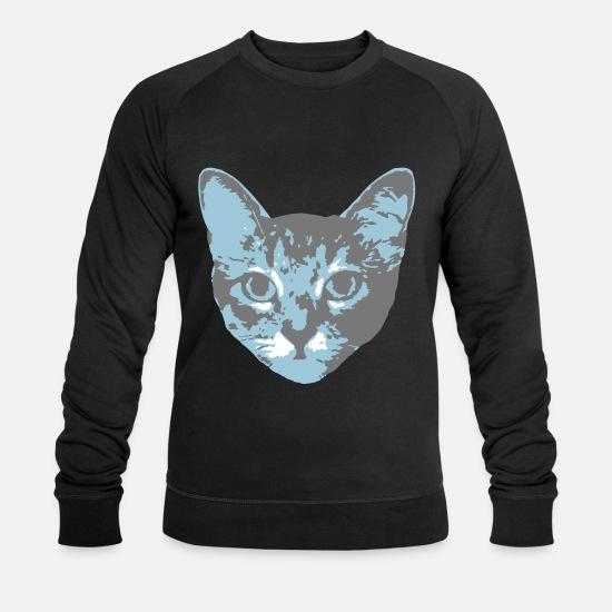 Art Hoodies & Sweatshirts - cat face - Men's Organic Sweatshirt black