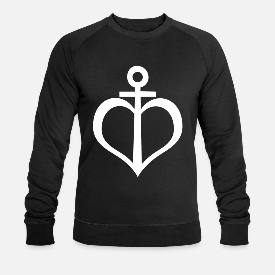 Kiel Hoodies & Sweatshirts - Anchor heart - design - Men's Organic Sweatshirt black