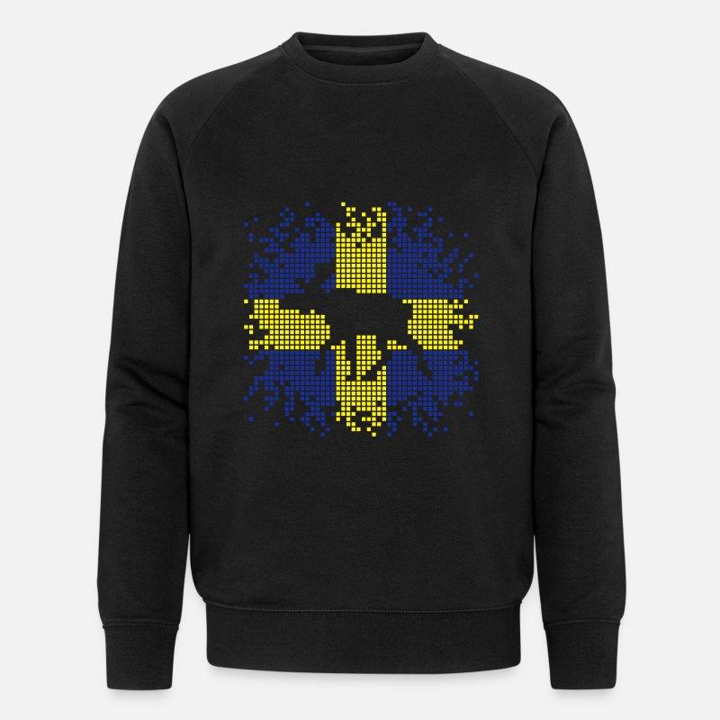 Pixel Älg Elk Ekologisk sweatshirt herr från Stanley & Stella marinblåmelerad