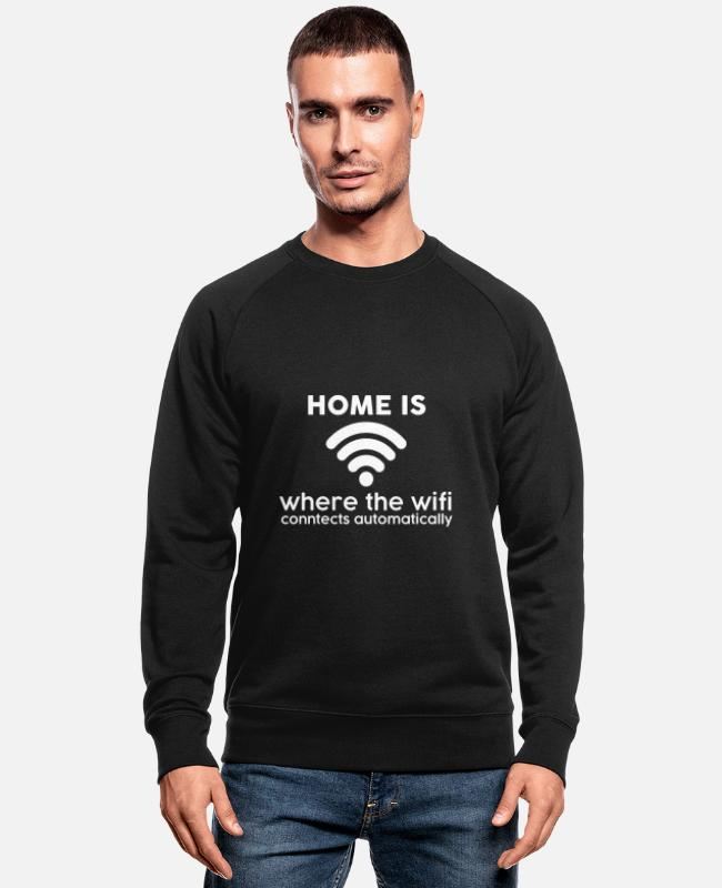 Wifi Wifi Funny Wifi Connection Nerd Mbit Internal Hoodies & Sweatshirts - WiFi Wifi - Men's Organic Sweatshirt black