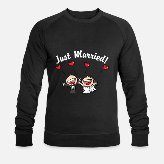 Bride Hoodies & Sweatshirts - Cute Just Married - Men's Organic Sweatshirt black
