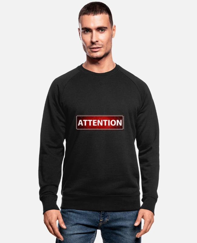 Banner Hoodies & Sweatshirts - Attention - Men's Organic Sweatshirt black