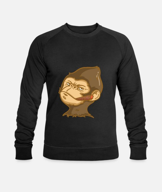 Easter Hoodies & Sweatshirts - Smoking monkey monkey head cool monkey with cigar - Men's Organic Sweatshirt black