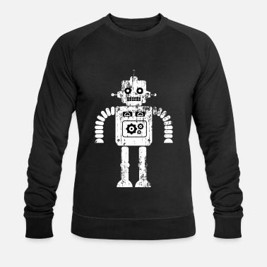 Sciencefiction Beunruhigter Sciencefiction-Retro Roboter - Männer Bio Pullover