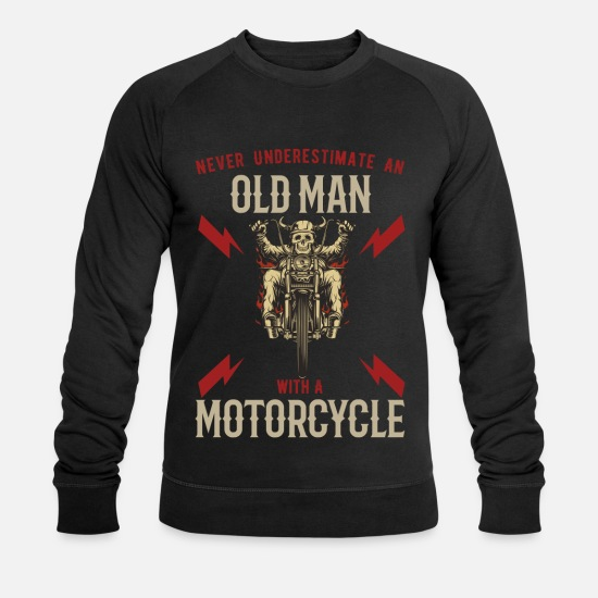 Motor Sweaters & hoodies - Old Man Motorcyclist Motorcycle Retired Biker - Mannen bio sweater zwart