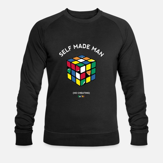 Cube Hoodies & Sweatshirts - Rubik's Cube Self Made Man No Cheating - Men's Organic Sweatshirt black