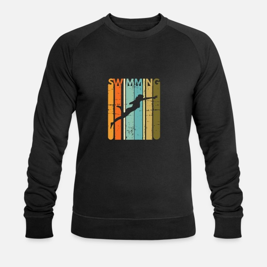 Aquatics Hoodies & Sweatshirts - Retro vintage freestyle swimming swimmer - Men's Organic Sweatshirt black