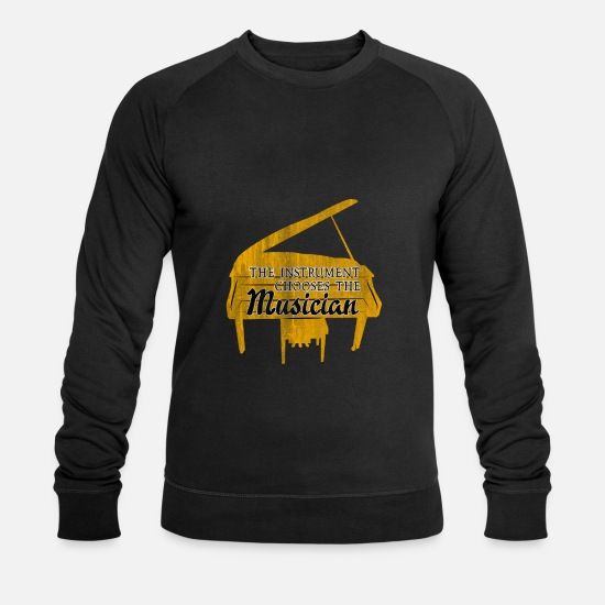 Gift Sweaters & hoodies - Piano muziekinstrument - Mannen bio sweater zwart