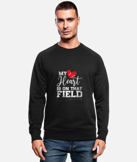 Batting Helmet Hoodies & Sweatshirts - My Heart Is On That Field Baseball - Men's Organic Sweatshirt black