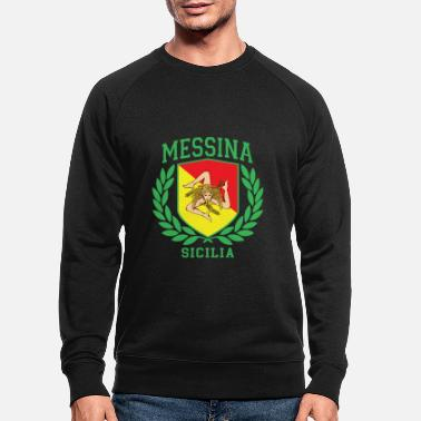 Cefalü MESSINA: Sicilia Flag and Trinacria Shield Design - Men's Organic Sweatshirt