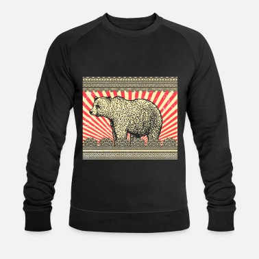 Rocky Mountains Bear Brown Bear Rocky Mountains Animal Grizzly Vintage - Sudadera orgánica hombre