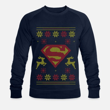Ugly Christmas Justice League Superman Logo Ugly Christmas - Männer Bio Pullover