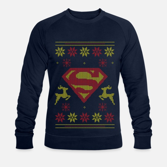 Officialbrands Sweaters & hoodies - Justice League Superman Ugly Christmas - Mannen bio sweater navy