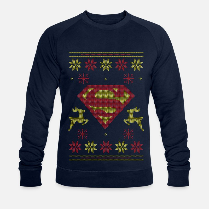 Christmas Pullover & Hoodies - Justice League Superman Logo Ugly Christmas - Männer Bio Pullover Navy