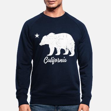 Californië California Bear Vintage White - Mannen bio sweater
