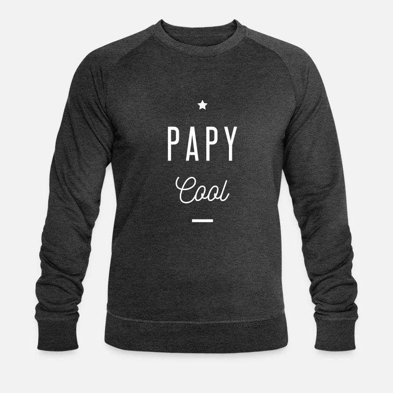 Papy Sweat-shirts - PAPY COOL - Sweat-shirt bio Homme charbon chiné