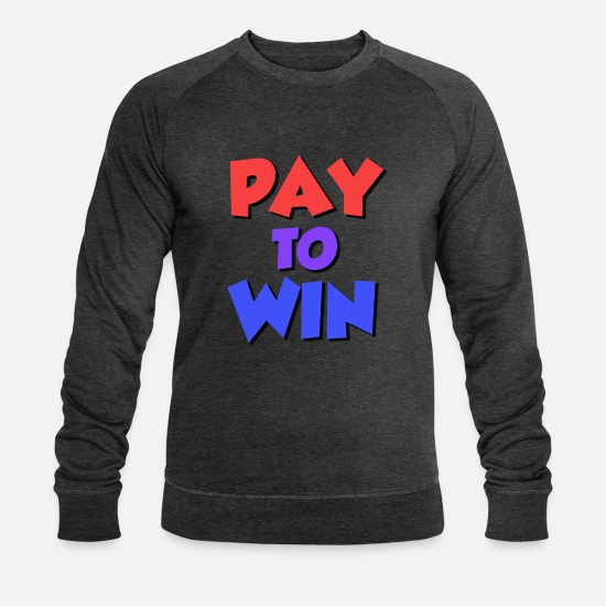 Meme Hoodies & Sweatshirts - Pay to Win (P2W) - Men's Organic Sweatshirt dark grey heather