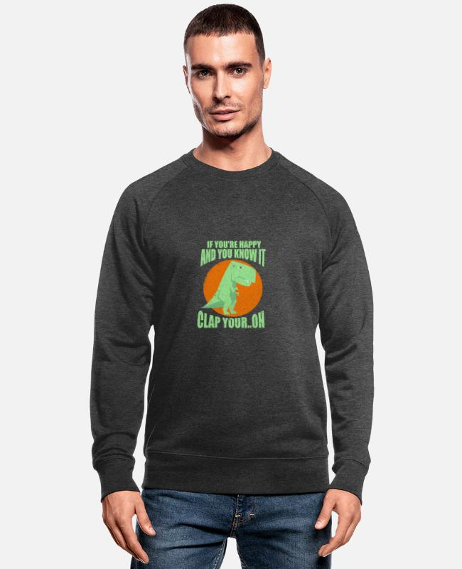 Nature Hoodies & Sweatshirts - Dino - Men's Organic Sweatshirt dark grey heather