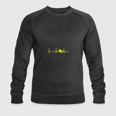 ECG HEARTBEAT RACING MOWER yellow - Men's Organic Sweatshirt by Stanley & Stella