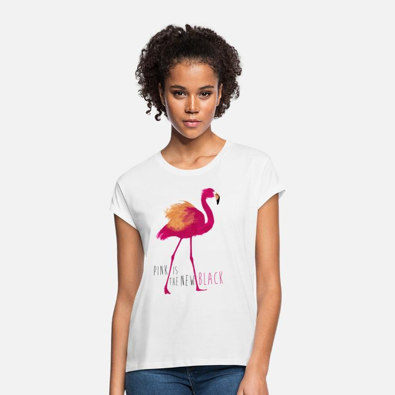 Sprüche T-Shirts - Animal Planet Flamingo Pink is the new black - Frauen Oversize T-Shirt Weiß