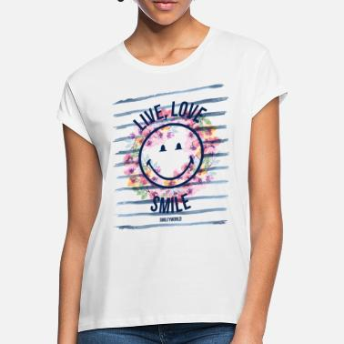 Mothers Day Smiley World Live Love Smile Aquarelle Quote - Women's Loose Fit T-Shirt