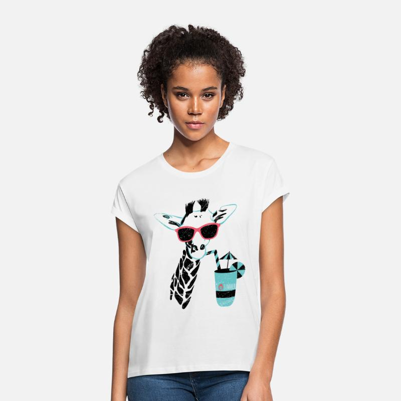 Giraffe T-Shirts - Animal Planet Africa Giraffe With Cocktail - Women's Loose Fit T-Shirt white